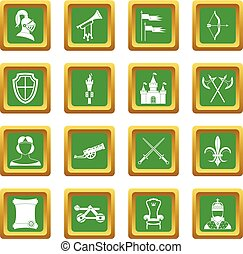 Knight medieval icons set green