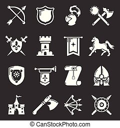 Knight medieval icons set grey vector