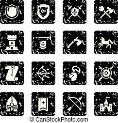 Knight medieval icons set grunge vector