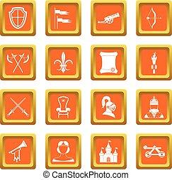 Knight medieval icons set orange