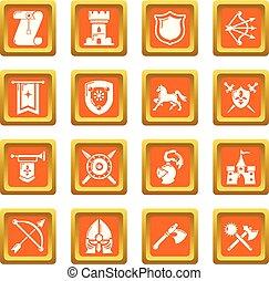Knight medieval icons set orange square vector