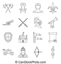 Knight medieval icons set, outline style.