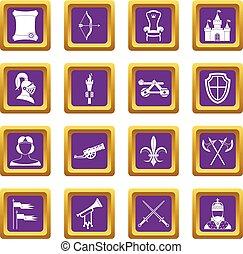 Knight medieval icons set purple