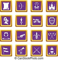 Knight medieval icons set purple