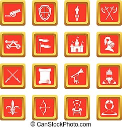 Knight medieval icons set red