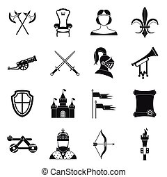 Knight medieval icons set, simple style