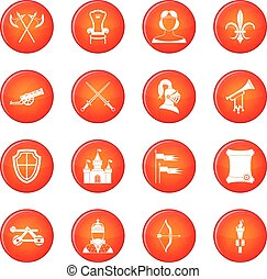 Knight medieval icons vector set