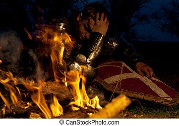 Knight near the fire