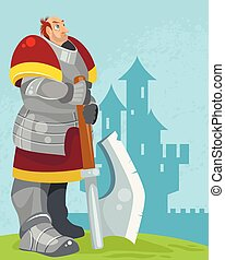 Knight on a castle background