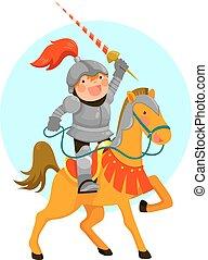 knight on a horse - Cute cartoon knight riding his horse,...