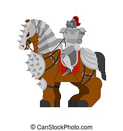 Knight on horse. Clydesdale Strong heavy steed. Cartoon animal vector
