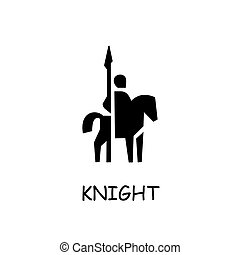 Knight on horse flat vector icon