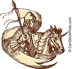 Knight On Horse Holding Flag Drawing - Drawing illustration...