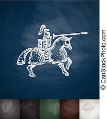 knight on horse icon. Hand drawn vector illustration