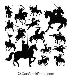 Knight on horse silhouettes
