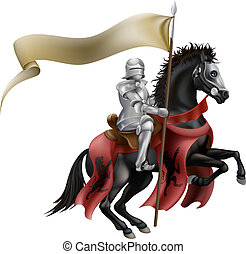 Knight on horse with flag - An illutration of a knight...