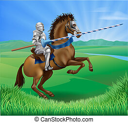 Knight on horse with lance - A blue medieval knight in armor...