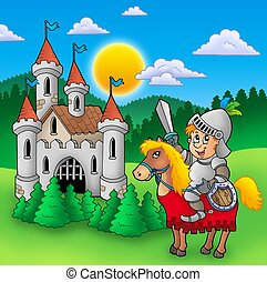 Knight on horse with old castle - color illustration.