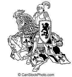 knight on horseback black and white