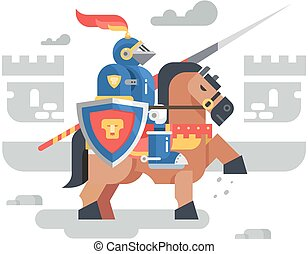 Knight on horseback character