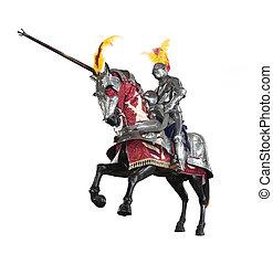 Knight on horseback jousting - Knight in armour on horseback...