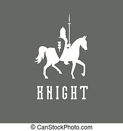 Knight on horseback with a chain mail armor, helmet, shield, spear vector ilustratsiya.