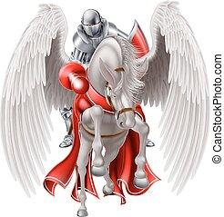 Knight on Pegasus Horse