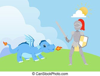 Knight or swordsman fighting with fierce dragon vector cartoon illustration. Legendary hero struggle evil monster. Scene from fairytale or legend. Knight and dragon for kids books.