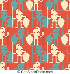 Knight pattern seamless. Armor warrior background. Medieval soldier Vector illustration