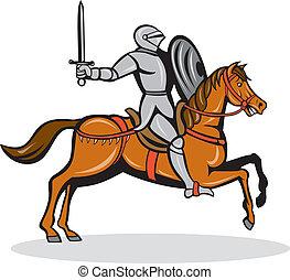 Knight Riding Horse Cartoon - Illustration of knight in full...