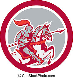 Knight Riding Horse Lance Circle Cartoon