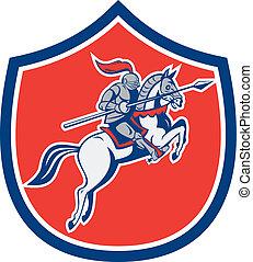 Knight Riding Horse Lance Shield Cartoon - Illustration of...