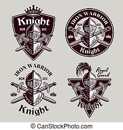 Knight set of four medieval vector vintage emblems