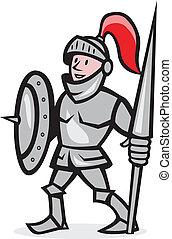 Knight Shield Holding Lance Cartoon - Illustration of knight...