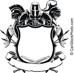 Knight & Shield Silhouette Ornament - Available as a Vector...