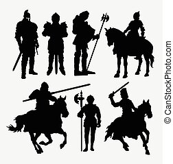 Knight soldier silhouettes