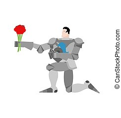 Knight standing on one knee and Bouquet of flowers....