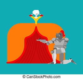 Knight standing on one knee and making marriage proposal lady. Medieval rendezvous. Mediaeval love. Valentines Day. February 14 illustration.