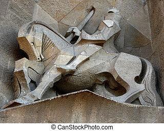 Knight statue at the Sagrada Familia church in Barcelona, ...