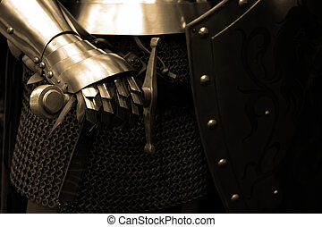 Knight - People in Middle ages ( close up ) - sepa tone