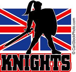 Knight sword shield british flag
