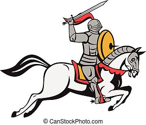 Cartoon style illustration of a knight in full armor holding sword on one hand over head and shield on the other hand riding horse steed attacking viewed from the side set on isolated white background.