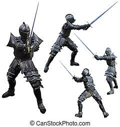Knight Swordsman - Knight in Full Armour, 3D render in...