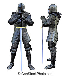 Knight Swordsman in Full Armour, 3D render
