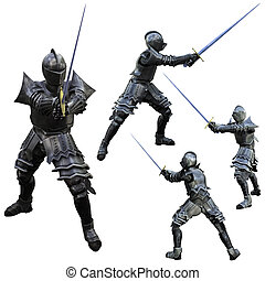 Knight Swordsman - Knight in Full Armour, 3D render in...