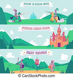 Knight tournament banner set - medieval battle festival poster