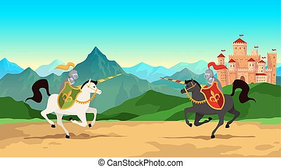 Knight tournament. Battle between medieval warriors in metal armour with lance weapons riding horses. Historical vector background