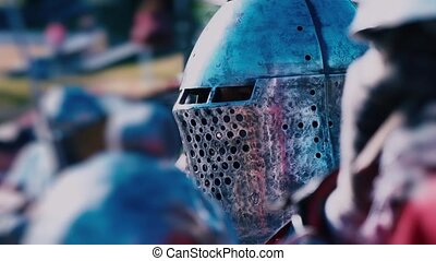 Knight Tournament. Knight before the fight. Man in Iron...