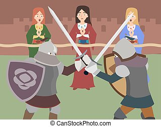 knight tournament vector cartoon - knight tournament - funny...