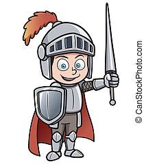 Knight - Vector illustration of Cartoon knight
